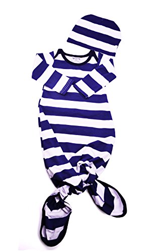 Baby Tie Bottom Nightgown and Matching Hat, Sleep Gown (Navy Blue Stripe, 0-3 Month) (Stripe Knit Layette)
