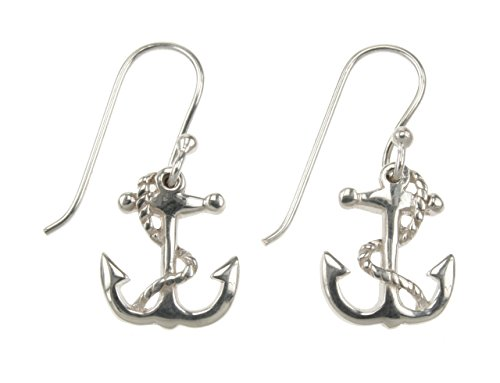 Nautical Sterling Silver Dangle Anchor Earrings