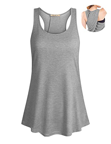 Cyanstyle Round Neck Tank Tops for Women Sexy Scalloped Hem Design Flattering Workouts Loosely Wear with Leggings Sleeveless Kint Tank Top Cotton Petite Clothes Light Grey S ()