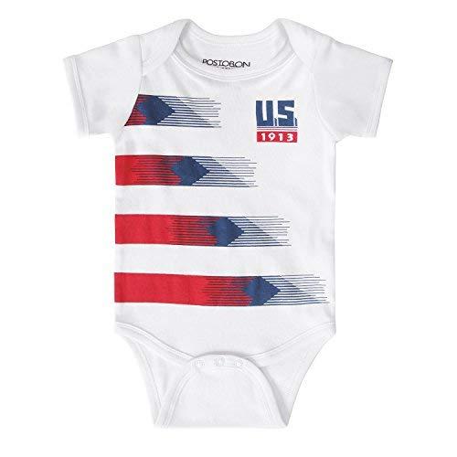 Postobon Newborn Baby US Unique Soccer Bodusuits Onesies, White, 6 - 12 Months -