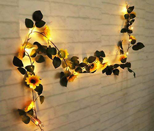 Gogo shopping FANStek 2 AA Batteries Powered 20 LED Silver String Fairy Lights with Sunflowers, Warm White