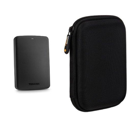 Toshiba Canvio Basics 2TB Portable Hard Drive (Black) and AmazonBasics Case