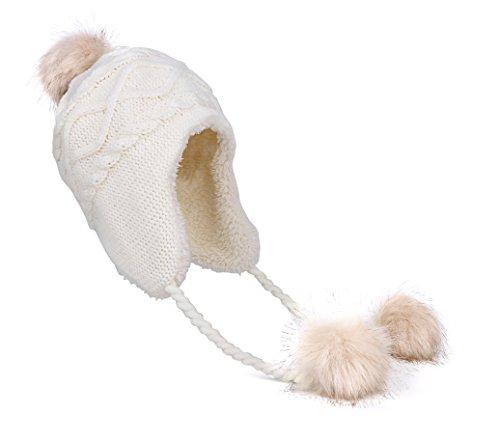 Jon Senkwok Women's hat Winter Hats for Women Soft Warm Earflap hat Womens with Ear Flaps for Women (White-58CM/22.83IN)