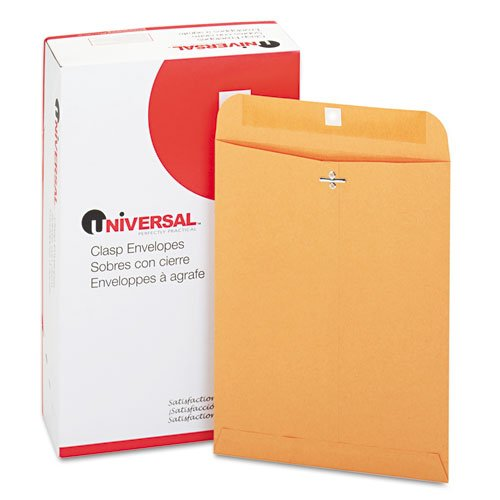 Universal Products - Universal - Kraft Clasp Envelope, Side Seam, 28lb, 9 x 12, Light Brown, 100/Box - Sold As 1 Box - Heavyweight Kraft stock. - Reinforced eyelet and two prong clasp. - Gummed flap.