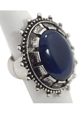 [Goth Steampunk Queen Jewel Chunky Oval Acrylic Stone Ring (Blue)] (Gothic China Doll Costume)