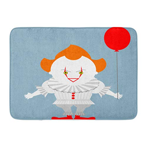 Emvency Doormats Bath Rugs Outdoor/Indoor Door Mat Pennywise Angry Evil Red Haired Clown Balloon King Stephen Crazy Bathroom Decor Rug Bath Mat 16