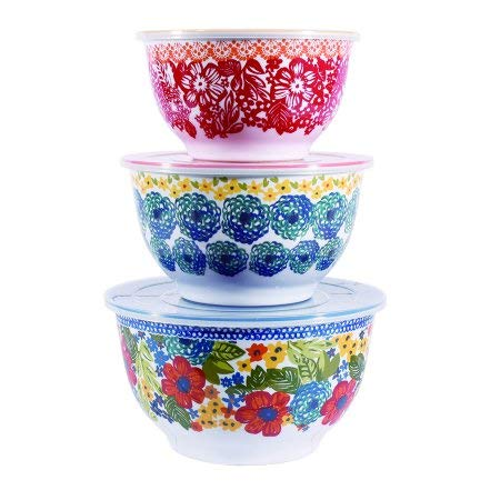 The Pioneer Woman Floral Melamine Mixing Bowl Sets with Lids (Dazzling Dahilas)