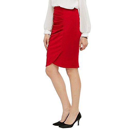 KENANCY Mujer Faldas Largas de Tubo Elegante Cintura Alta Elástico Atractiva Falda de Lápiz Danza Bodycon S - 2XL Rojo