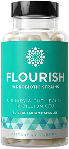 Flourish Probiotics Women & Men - Gut & Digestive Health, Urinary Tract, Prenatal & Pregnancy - 18 Potent Strains, 14 Billion CFU, Lactobacillus, Saccharomyces, Prebiotic - 30 Vegetarian Capsules