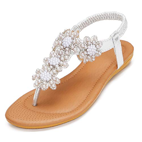 ZOEREA Women Sandals Shoes Flip Flops Ankle Strap Summer Sandals (7 B(M) US, Silver 1) -