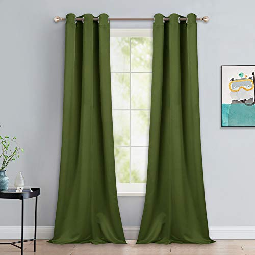 NICETOWN Patio Glass Door Panels - Blackout Curtains for Bedroom/Living Room, Privacy Panel Drapes for Dining Room and Guest Room (Olive Green, 42