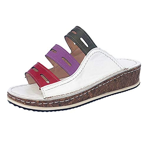 Meigeanfang Slippers Summer Sandals for Women Fashion Mixed Color Slip On Wedges Sandals(White,42)