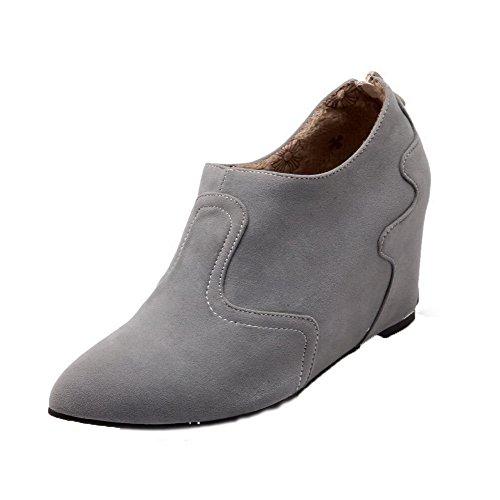 Allhqfashion Dames Effen Suède-pumps Met Hak Puntige Neus Rits Pumps-schoenen Grijs