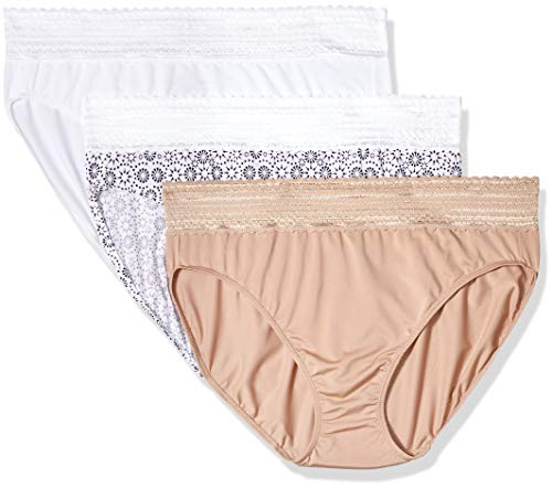 Warner's Women's No Pinching No Problems Tailored Brief 3 Pack Panties, Toasted Almond/White/Evening Blue Star Print, M (Brief Blue Cut High Panty)