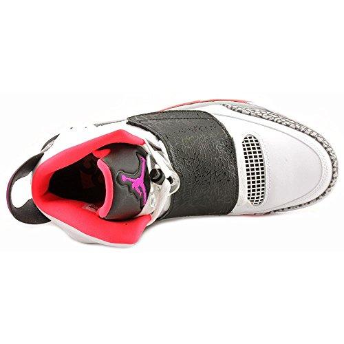 Nike Air Jordan Figlio Di Mens Scarpe Da Ginnastica Alte 512245 Scarpe Da Ginnastica Bianche Fucsia Flash Nero Lupo Grigio 105