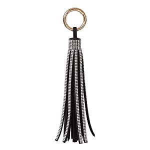 Womens Leather Tassel Key Chain Rhinestone Tassel Key Rings for Handbag Wallet Accessories Keychain