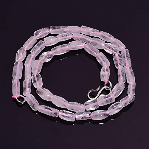 Beads Hub Natural Rose Quartz Gemstone Fancy Tube Smooth Beads Necklace 17