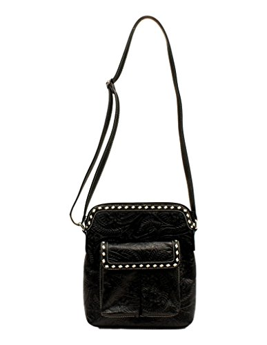 Blazin Roxx Women's Nora Floral Embossed Messenger Bag, Black, OS -