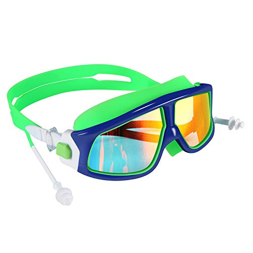 - Spinosaurus Kids Swim Goggles(Age 3-15 Years), Fashionable, Anti-Fog,UV Protection, No Leaking, Coated Lens,with case and earplugs, HD Swim Goggles for Kids Youth and Teenagers (Blue Green)