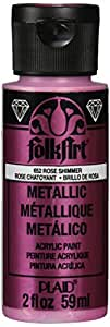 FolkArt Metallic Acrylic Paint in Assorted Colors (2 oz), 652, Rose Shimmer