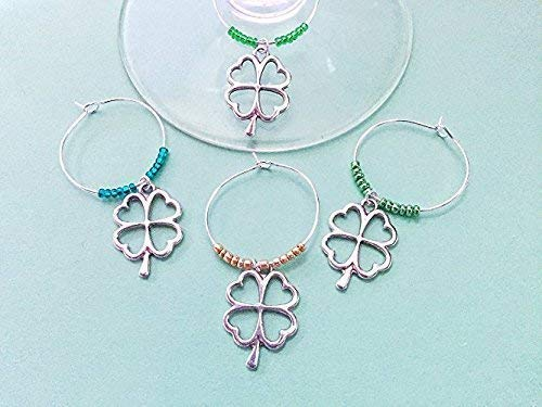 (St. Patricks Day Four Leaf Clover Shamrock themed Wine Charms for the Irish and Ireland lover in your life, St. Patrick's Day gift. Good Luck wine charms. MULTI BEAD)