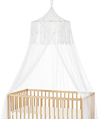 Mkono Macrame Bed Canopy Mosquito Net Play Tent Hanging Canopy Macrame for Kids Baby Bed, Large Mosquito Net for Single to King Size Beds,Macrame Wedding Home Decor,White from Mkono