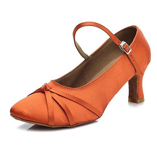 YFF Les chaussures de danse tango de bal moderne 5cm et 7cm talon Orange 7cm UzW1lc8k