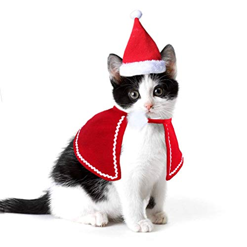 - Adorable Cat Dog Costumes Cloak Cape Pet Clothes Shawl Scarf Outfit with Santa Hat Cute Cat Coat New Year Christmas Costumes for Puppy Kitten Small Dogs and Cats Holiday Accessory