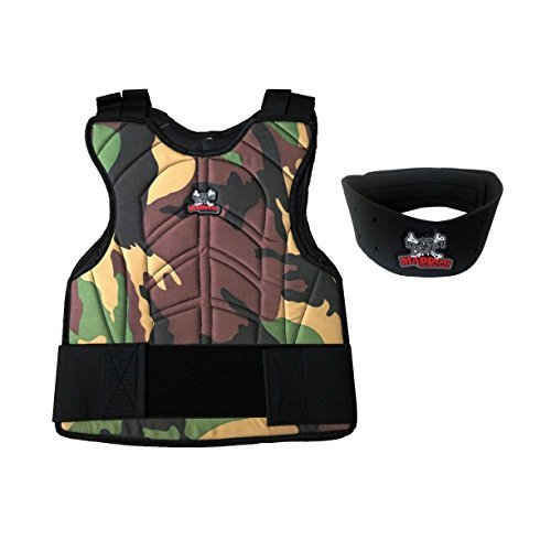 MAddog Sports Padded Chest Protector with Neck Protector Safety Combo - Camo by MAddog
