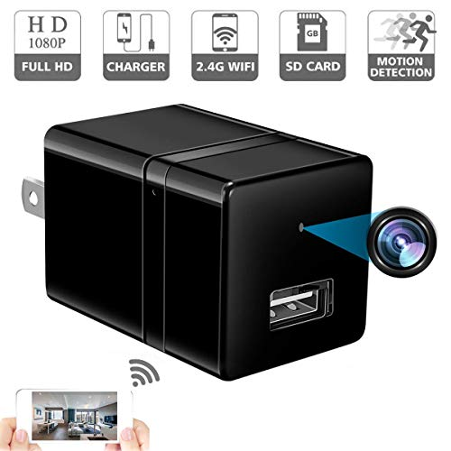 Spy Camera Wireless Hidden - USB Wall Charger Camera -Nanny Cam with Cell Phone App - Spy Camera WiFi - Home Security - 1080P HD - Motion Detection - Smart Snap Cam (Usb Home Phone)