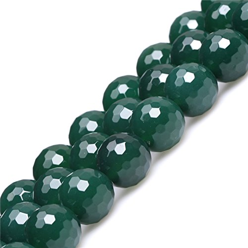 Faceted Green - 14mm Green Agate Beads for Jewelry Making Natural Semi Precious Gemstone Round Faceted Strand 15