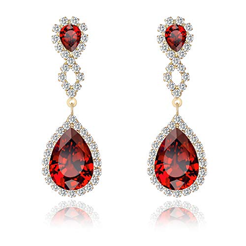 Miraculous Garden Womens Rhinestone Crystal Pierced Drop Earrings for Wedding Party-2 Tone Plated (Red)