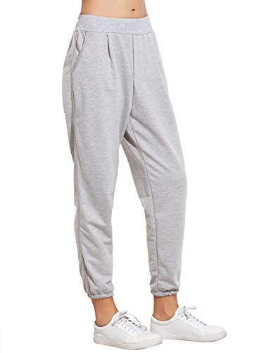 SweatyRocks Women's French Terry Jogger Pants Elastic Cuff Pocket Sweatpants (Small, Grey)
