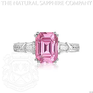 3.32ct. Natural Untreated Pink Sapphire Ring with 2 Bullet Dia 0.45ct. and pave set dia 0.70ct.