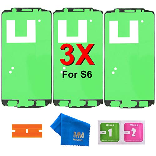 MMOBIEL 3 x Pre- Cut Adhesive Glue Tape Sticker Compatible with Samsung Galaxy S6 G920 Front Housing LCD Bezel Frame ()