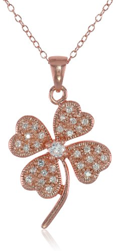 Rose Goldtone Finish Silver Cubic Zirconia Four Leaf Clover Pendant Necklace, 18