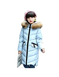 Girls Puffer Down Jacket Furry Hooded Bubble Coat for Kids
