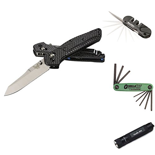 Benchmade 940-1 Osborne AXIS Lock Carbon Fiber Floding Knife (Stonewash, 3.4-Inch) Bundle With  Smiths PP1 Pocket-PAL Manual Knife Sharpener + Bondhus 12632 GorillaGrip Set of 8 Star Fold-up Keys (sizes T6-T25) + Fenix E01BK E01 Keychain LED Flashlight(4 Items) - Smith Axis