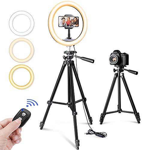 "10"" Selfie Ring Light with Tripod Stand & Phone Holder for Makeup and YouTube Live Streaming, Torjim Dimmable LED Camera… 1"