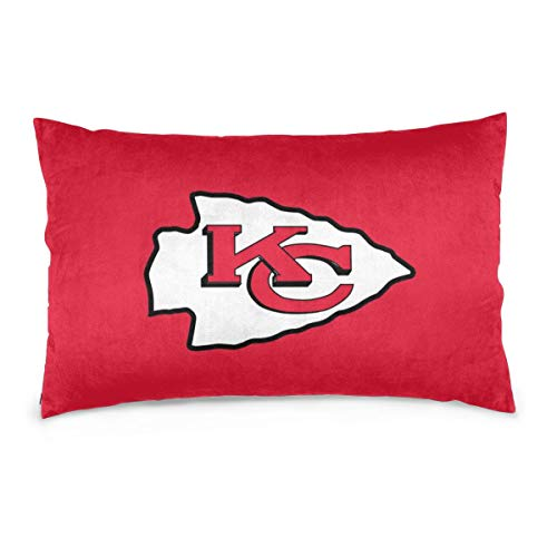 MamaTina Design Colorful Rectangle Pillowcase Kansas City Chiefs Football Team Sofa Cushion Cover Soft Pillow Cover Invisible Zipper Pillow Case Protector for Bed 1 Pc - 16x24 Inch