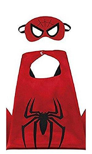 Honey Badger Brands Dress Up Comics Cartoon Superhero Costume with Satin Cape and Matching Felt Mask, Spiderman, Black Plus (Spiderman Mask Costume)