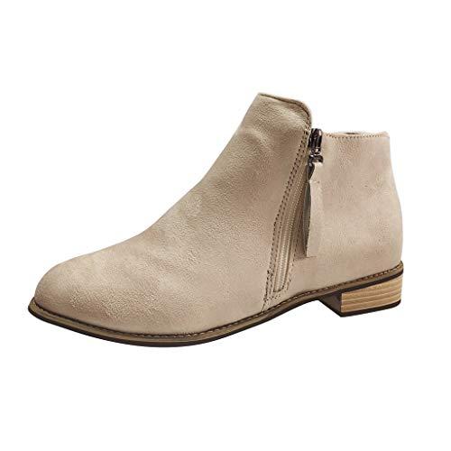 ANJUNIE Women's Footwear Winter Ankle Boots Pointed Toe Stacked High Heels Side Zipper Booties