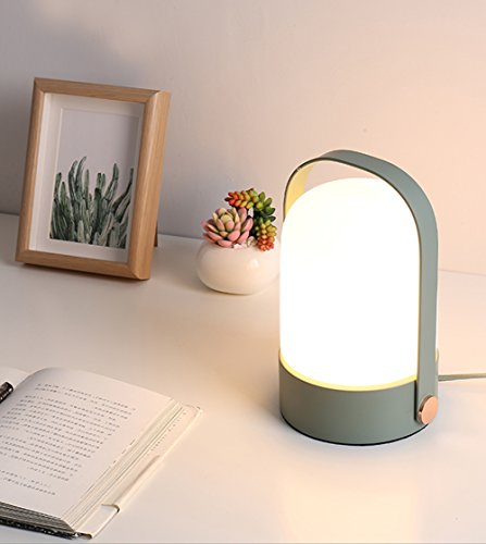 Simple Cute Practical Style Bedside Table Lamp with Celadon Base and Glass Shade for Bedroom, Dressing Table, Living Room, Baby Room, College Dormitory, Coffee Table, Bookcase, Celadon Review