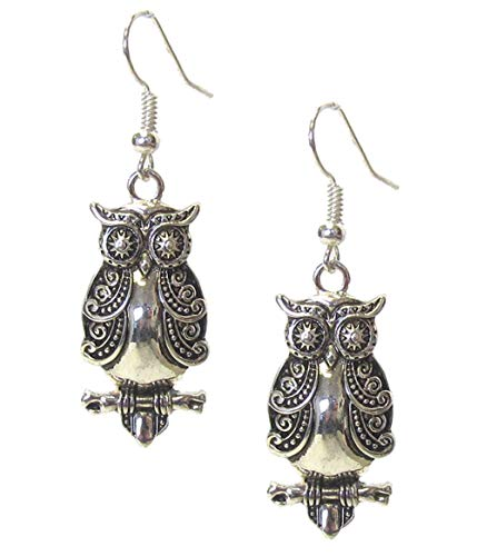 (Vintage Look Embossed Antiqued Silver-Tone Owl Dangle Drop Earrings 1 5/8 Inches Long)