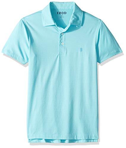 IZOD Men's Slim Fit Breeze Short Sleeve Solid Polo, Blue Radiance, Large ()