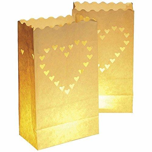 Aiber 30 X Paper Tea Light Candle Lantern Bags Wedding Party Garden BBQ Xmas Decor(Heart) from AIBER