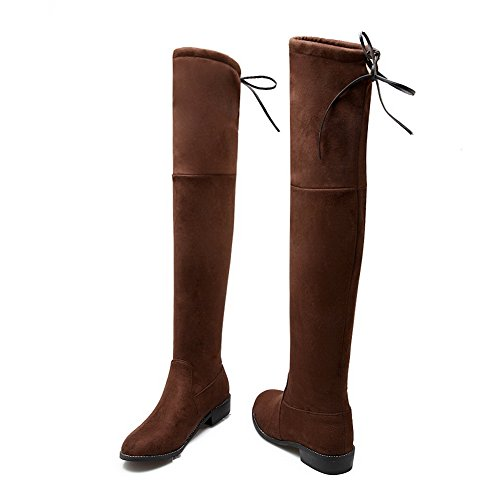 AdeeSu Ladies Square Heels Bandage Pull-On Imitated Suede Boots Brown XpbmsXdt6
