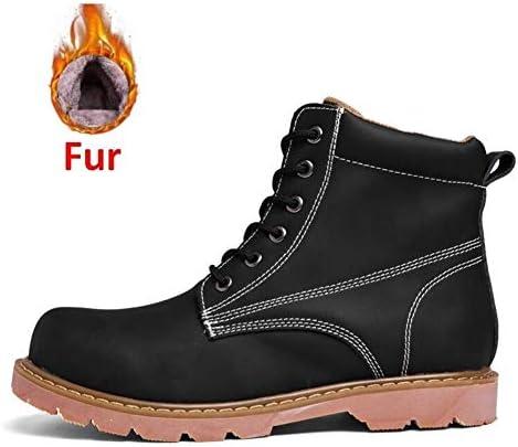 冬のメンズスノーブーツ人工皮革レースアップ快適なアンクルブーツアウトドアワークブーツは、摩耗をスリップ (色 : 黒, サイズ : 23.5 CM)