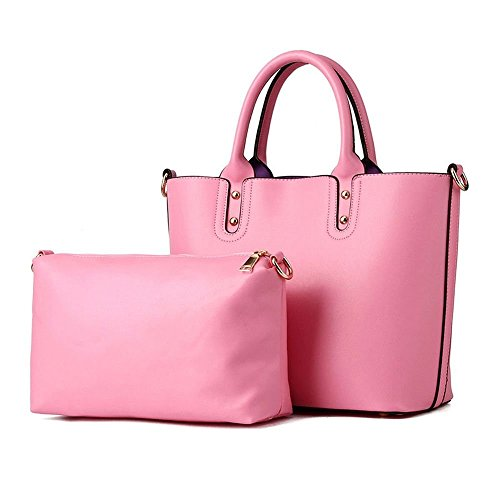 Desklets Women's 2 Piece Vintage Sling Tote Bags Top Handle Handbag(Pink)