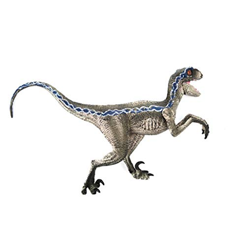 Kanzd Blue Velociraptor Dinosaur Action Figure with Base Animal Model Toy Collector (B) from Kanzd Toy